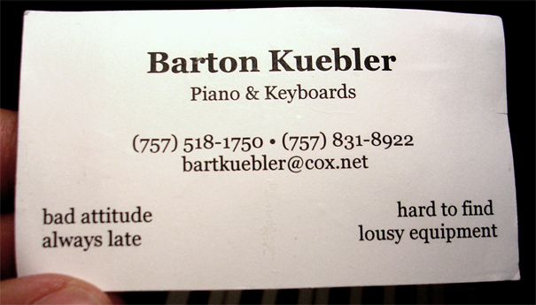 Business cards continued this has the persons name in big font what he does piano colourmoves