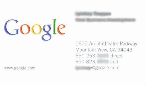 A business card with the Google logo taking up about 40% of the card. All the rest of the text is small.