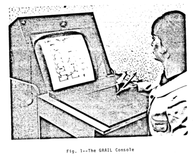 a person holding a pen over a tablet surface looking at a monitor with flow charts on it