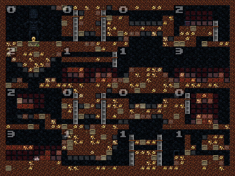 A Spelunky level with annotations on the tiles.