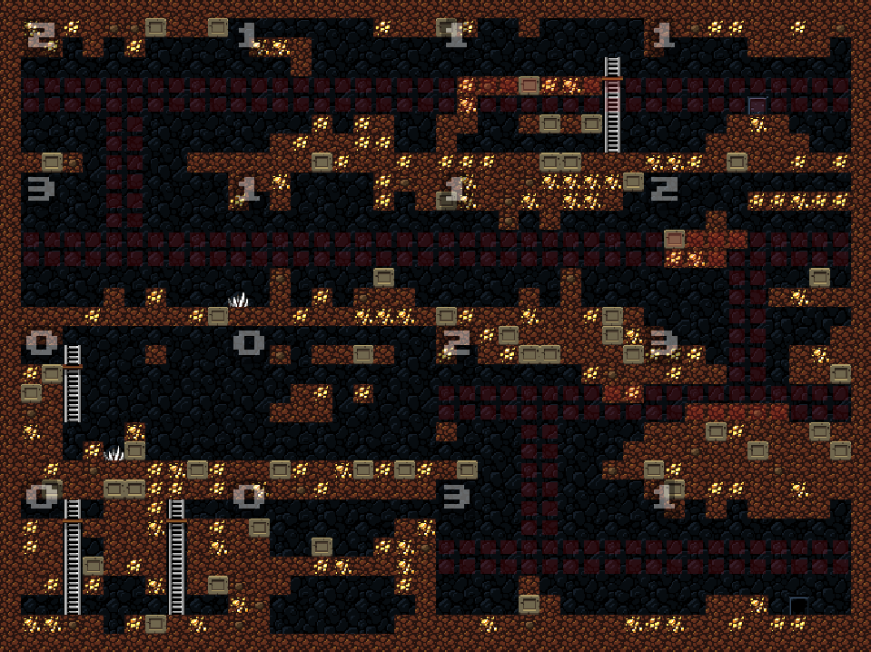 Screenshot of the generator. It shows a Spelunky level, zoomed out, with annotations.