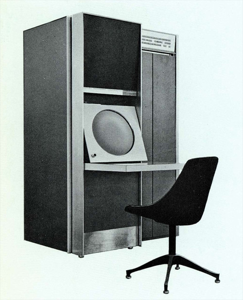 Photo of the DEC-340 display, which has a small closet's worth of rack electronics and a circular monitor the size of manhole cover.