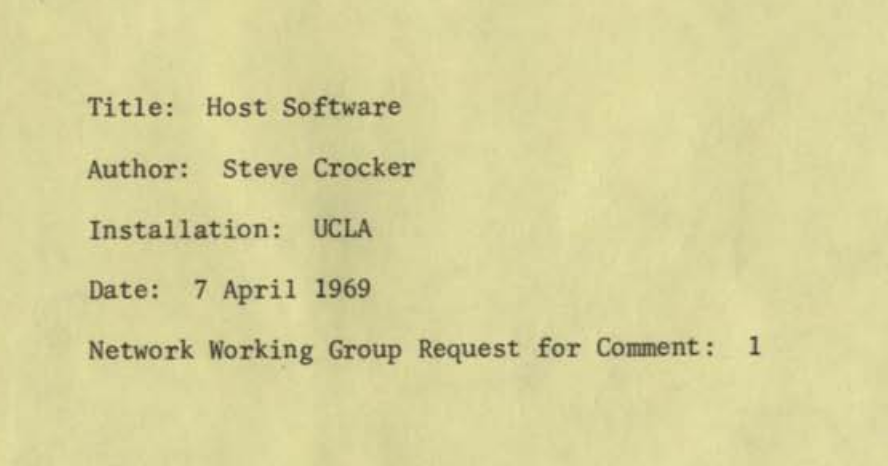Typewritten text from the cover page of RFC-1